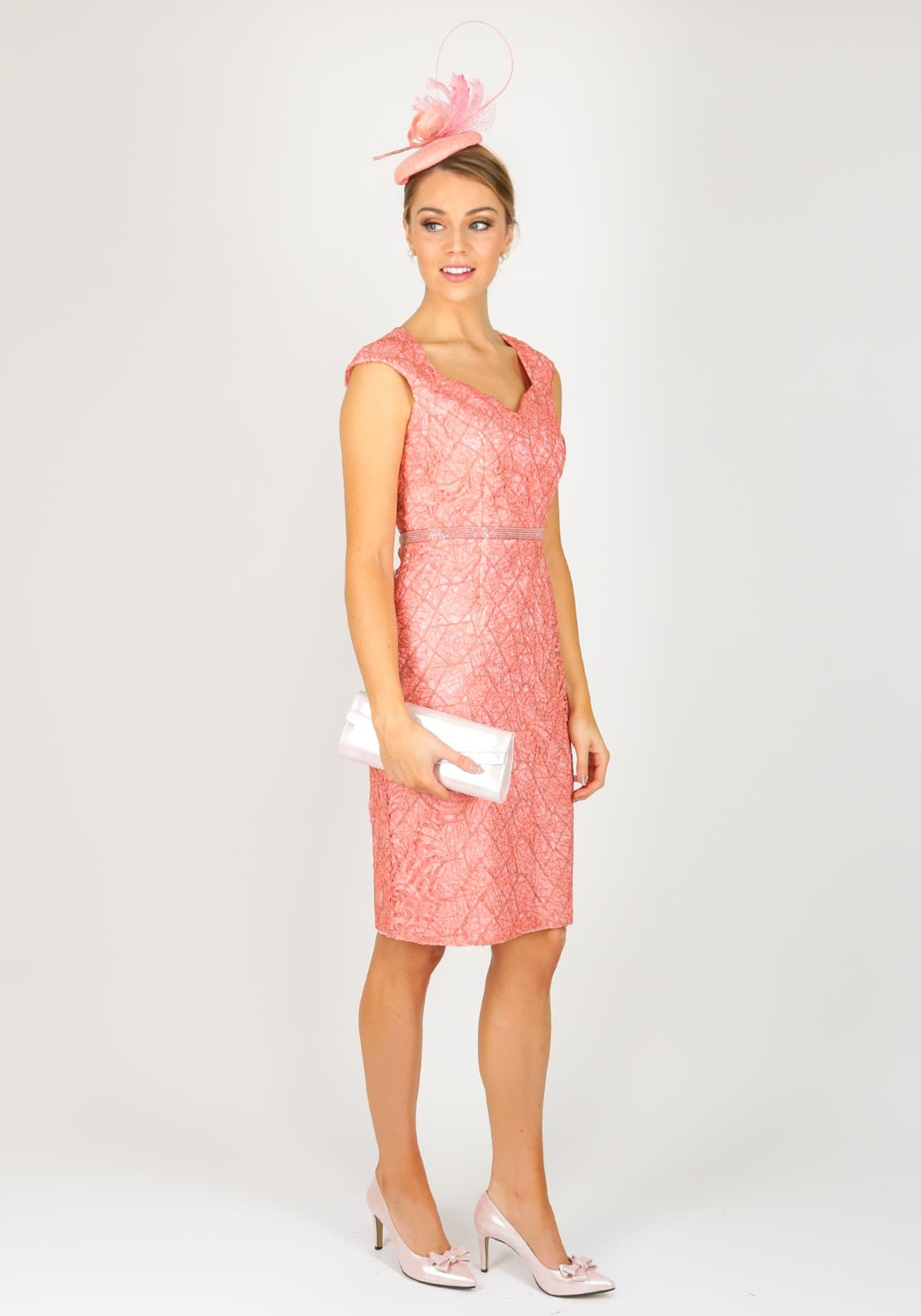 Sonia Pena Embroidered Overlay Dress and Organza Coat, Salmon
