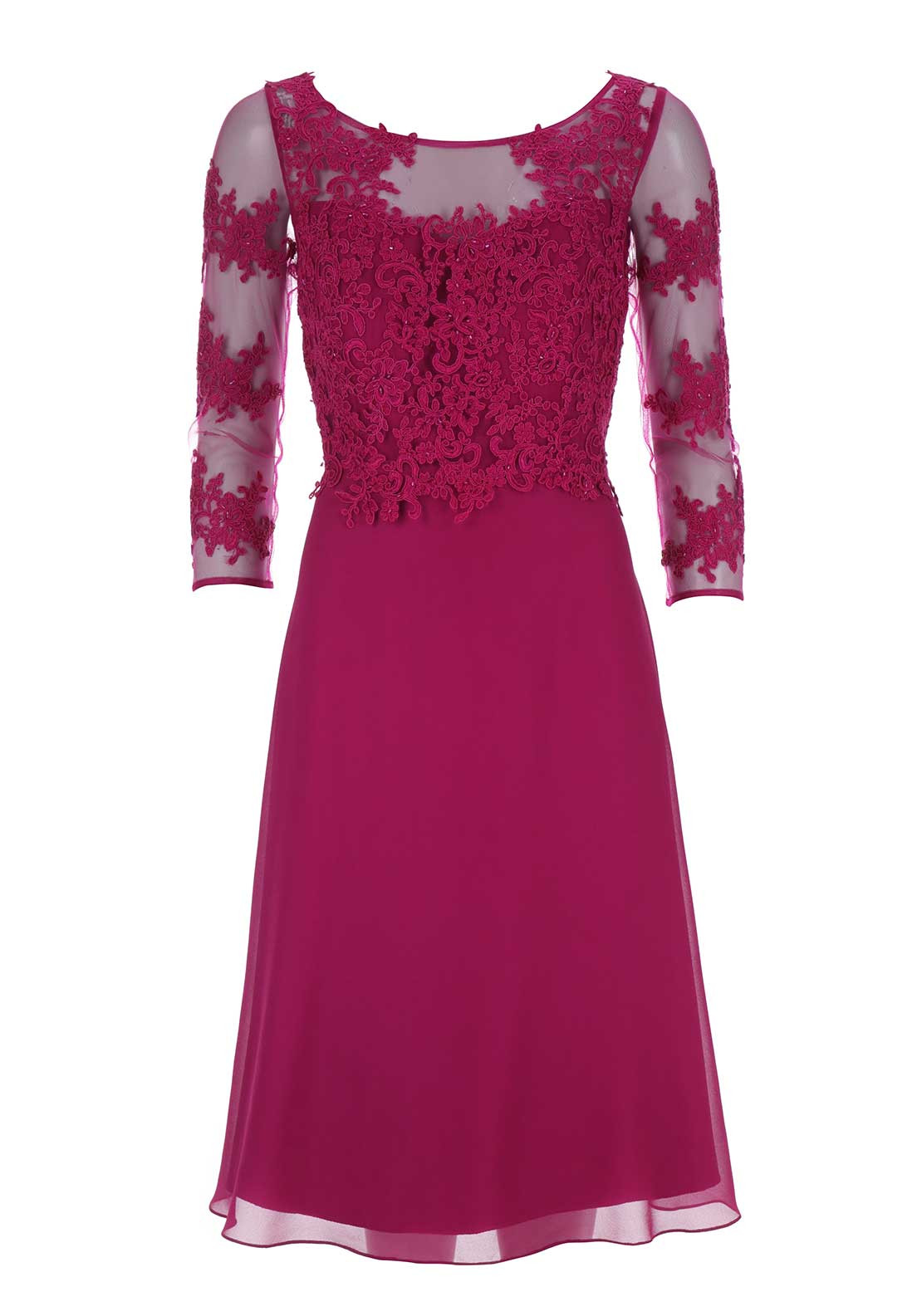 Sonia Pena Embroidered Overlay Dress, Pink