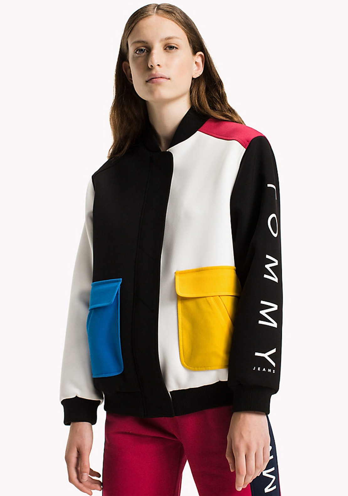 7a79c996c Tommy Jeans Womens Colour Block Bomber Jacket, Black | McElhinneys