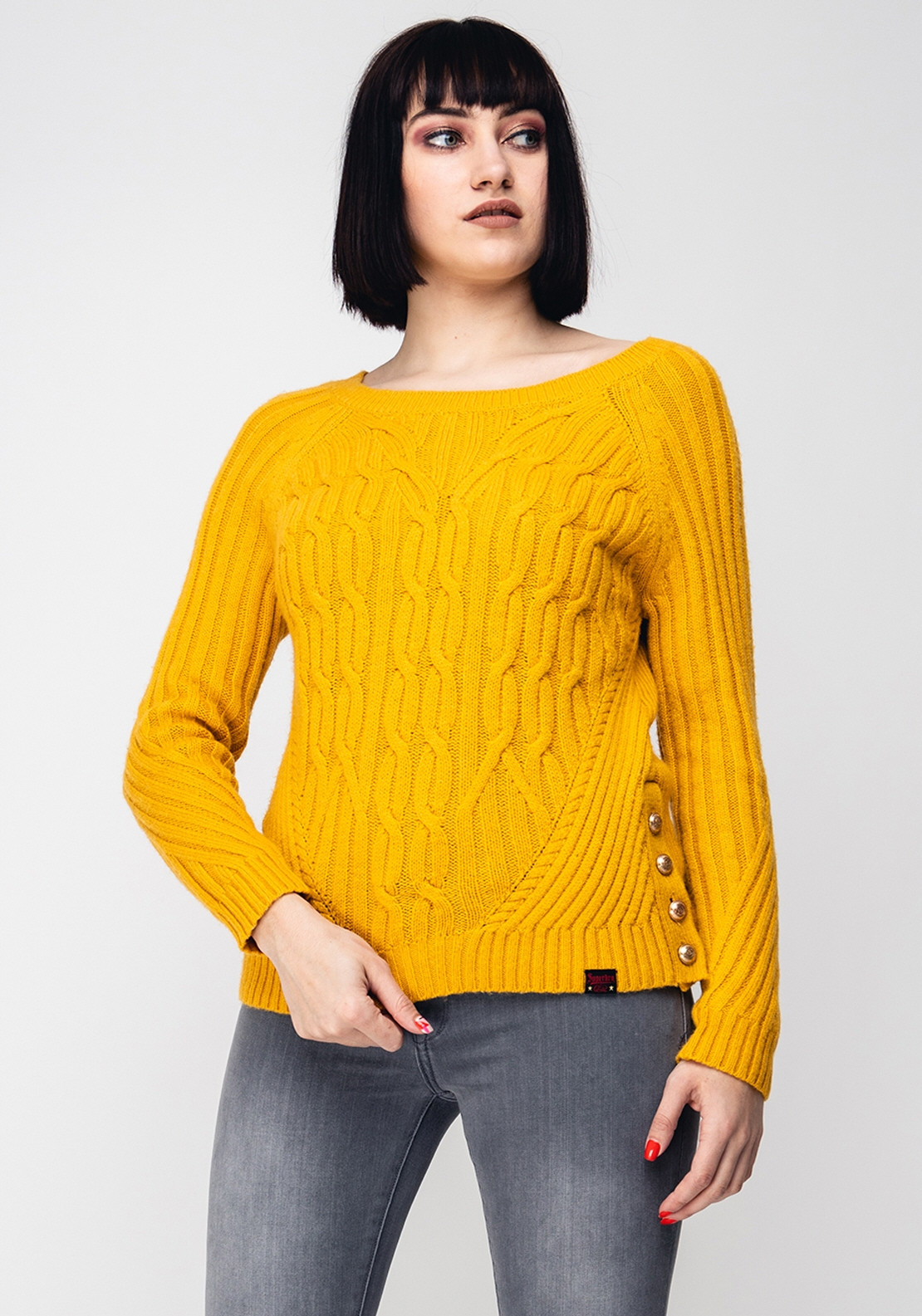 2498ae48904 Superdry Womens Hester Cable Knit Jumper, Yellow