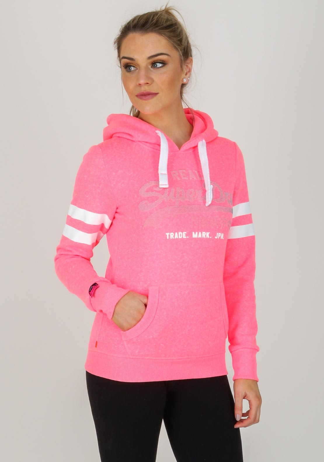 brand new 0f7ee a7bb9 Superdry Womens Vintage Logo Duo Dot Hoodie, Pink