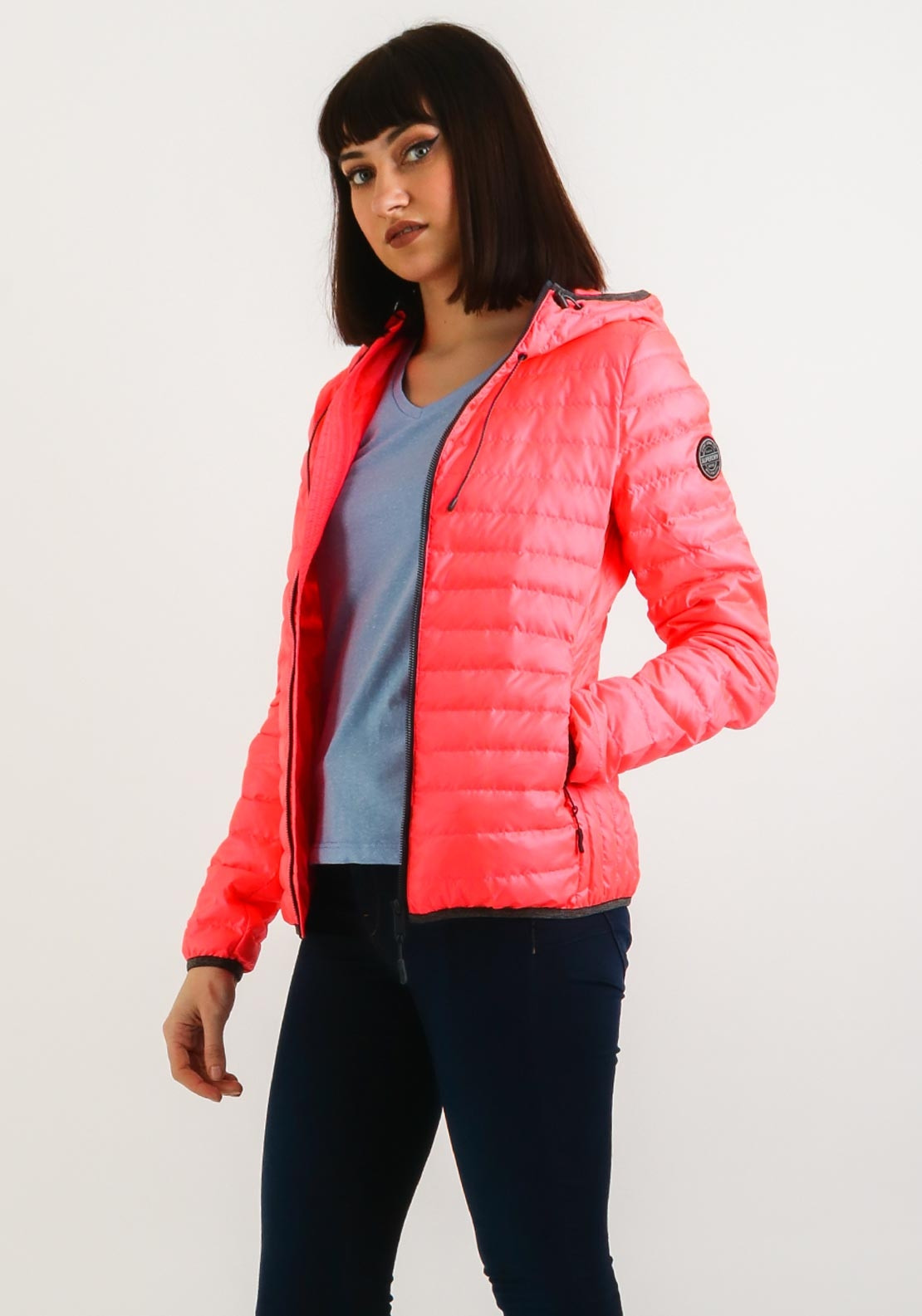 6a5c5801a Superdry Womens Core Down Hooded Jacket, Coral
