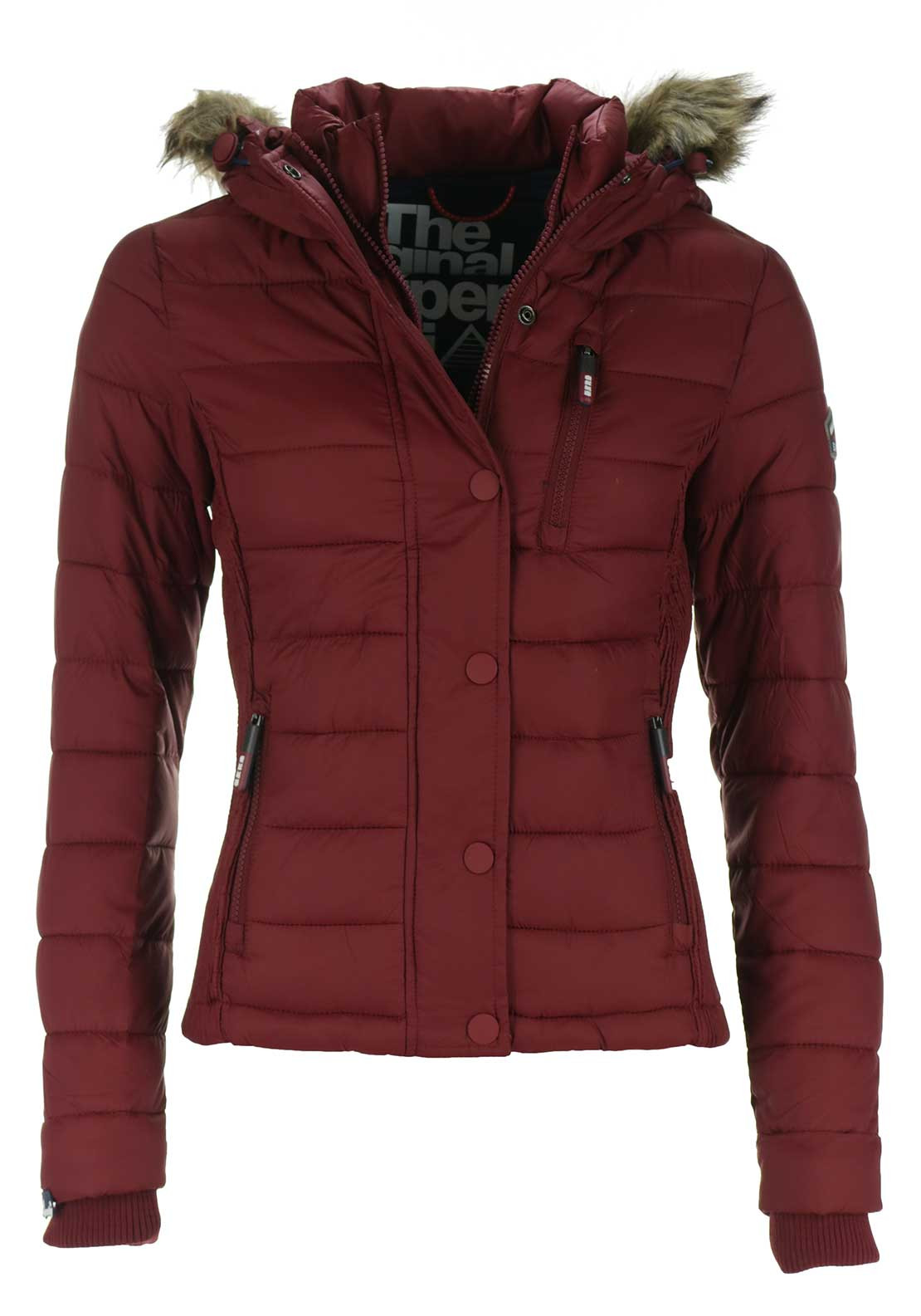 Superdry Womens Fuji Double Zip Hood Jacket, Wine