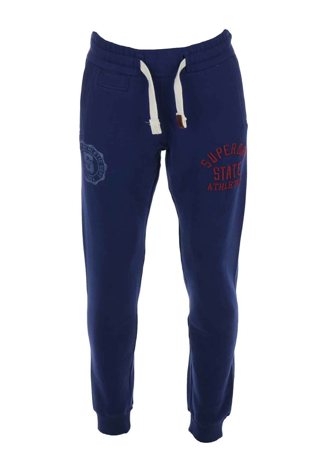 Superdry Mens Core Applique Tracksuit Bottoms, Blue