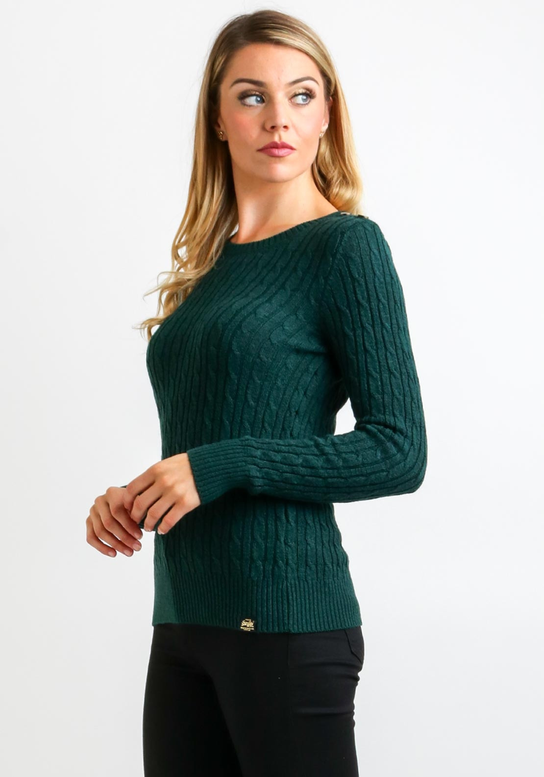 Superdry Womens Croyde Cable Knit Jumper Green Mcelhinneys