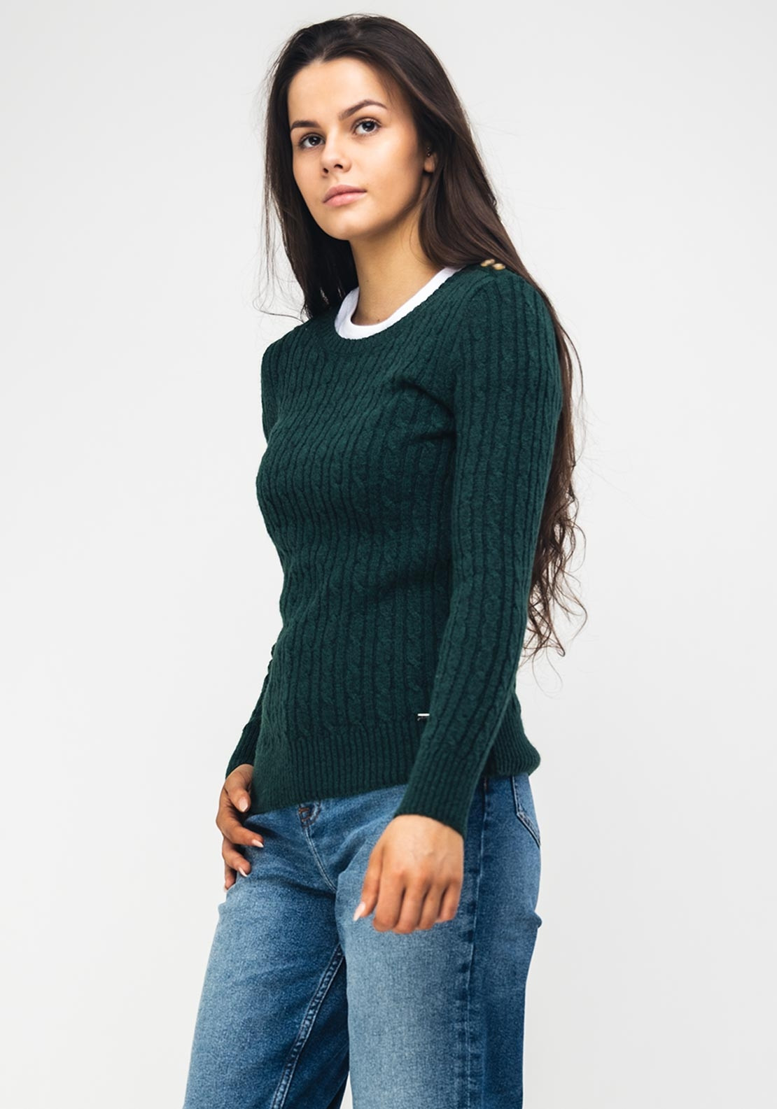 200de051957 Superdry Womens Croyde Cable Knit Jumper, Green