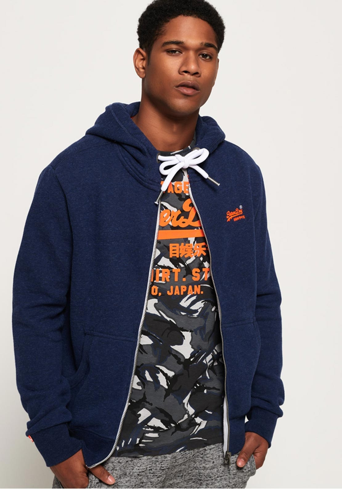 Superdry Label Mcelhinneys Hoodie Zip Mens Orange Montana Blue Grit wO6vwqS