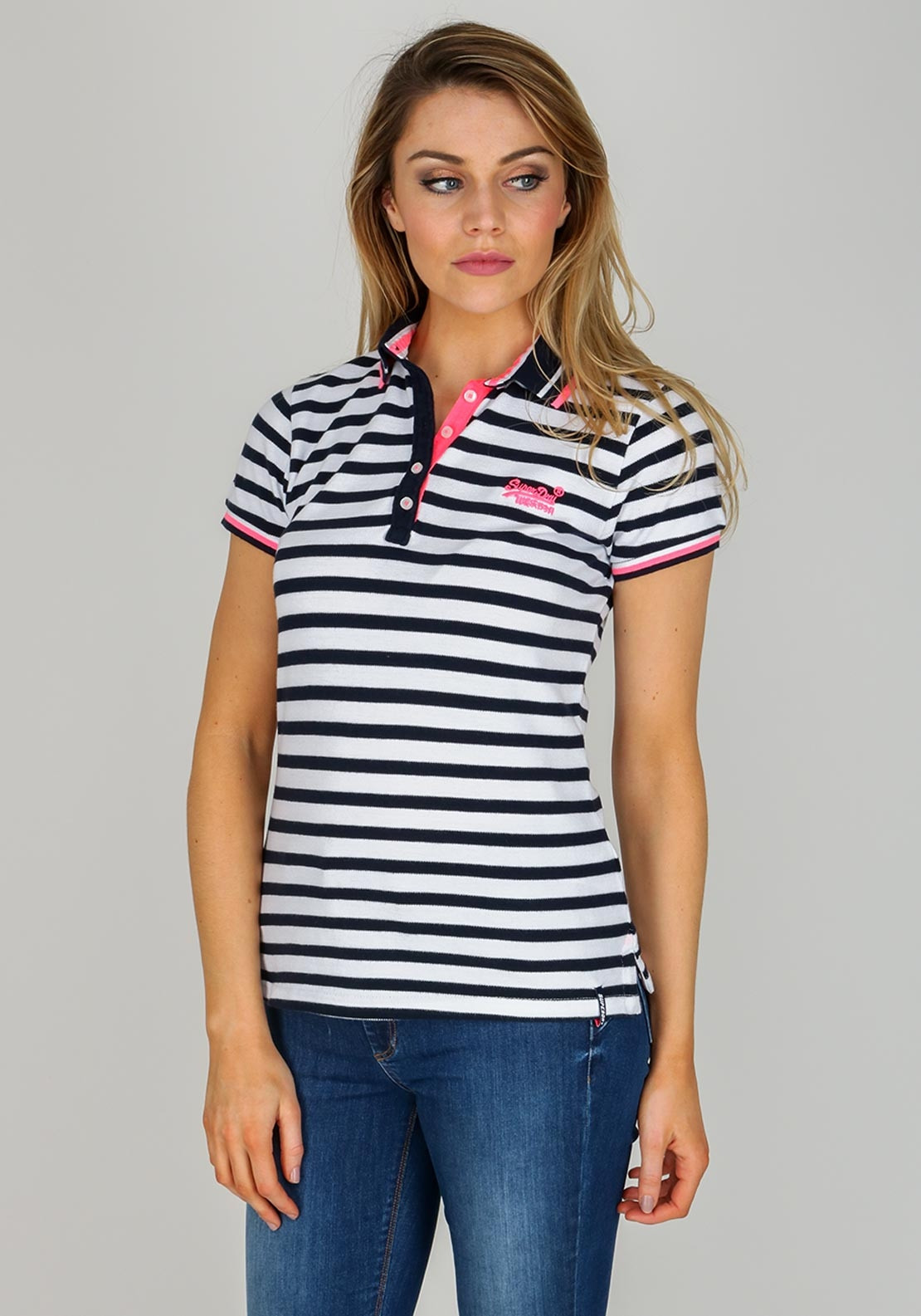 on feet at ever popular detailing Superdry Womens Pacific Stripe Polo Shirt, Navy