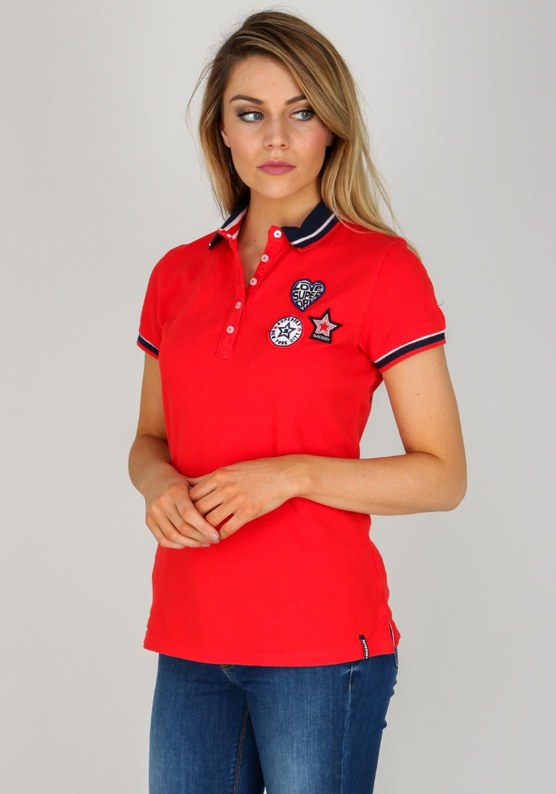 preview of new products exclusive shoes Superdry Womens Pacific Badge Polo, Red