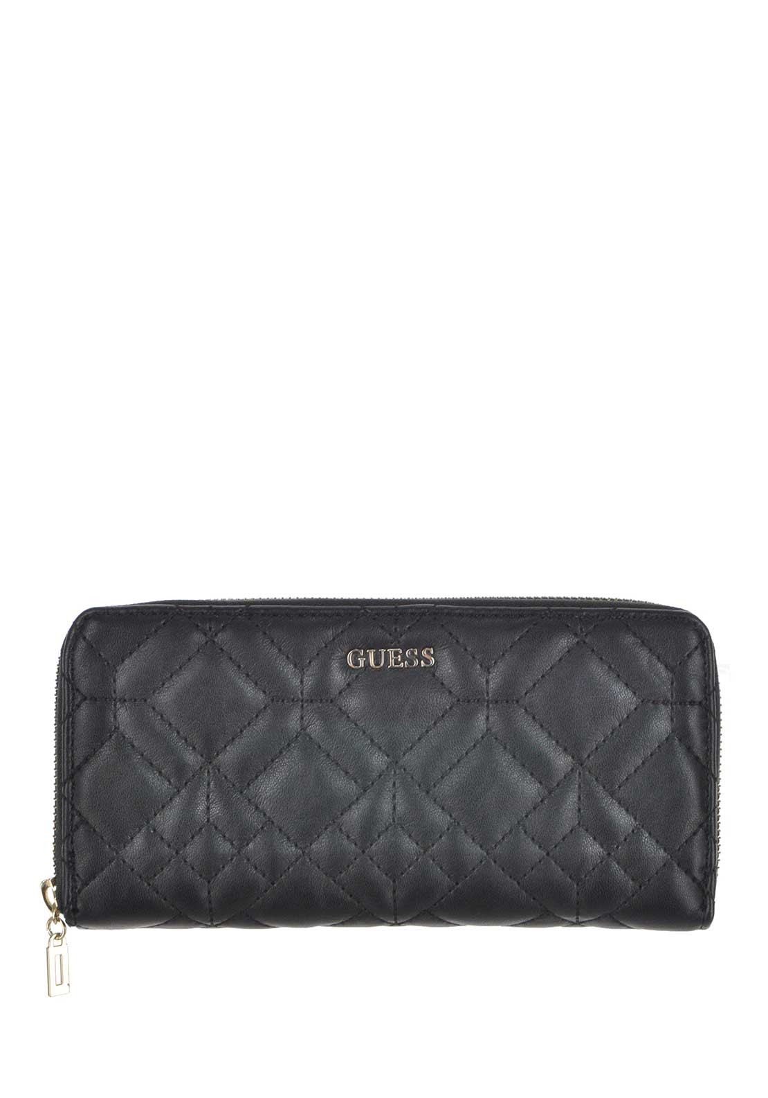 Guess Womens Ines Large Zip Around Wallet, Black