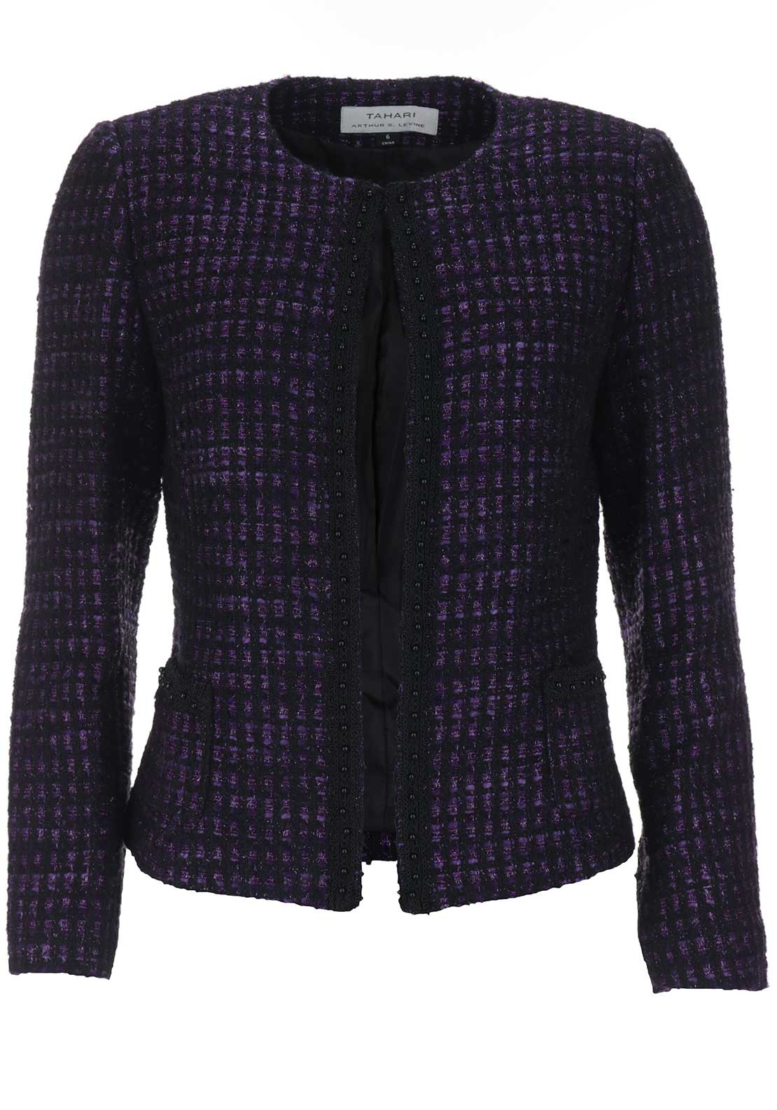 Tahari by Arthur S. Levine Boucle Shimmer Jacket, Purple