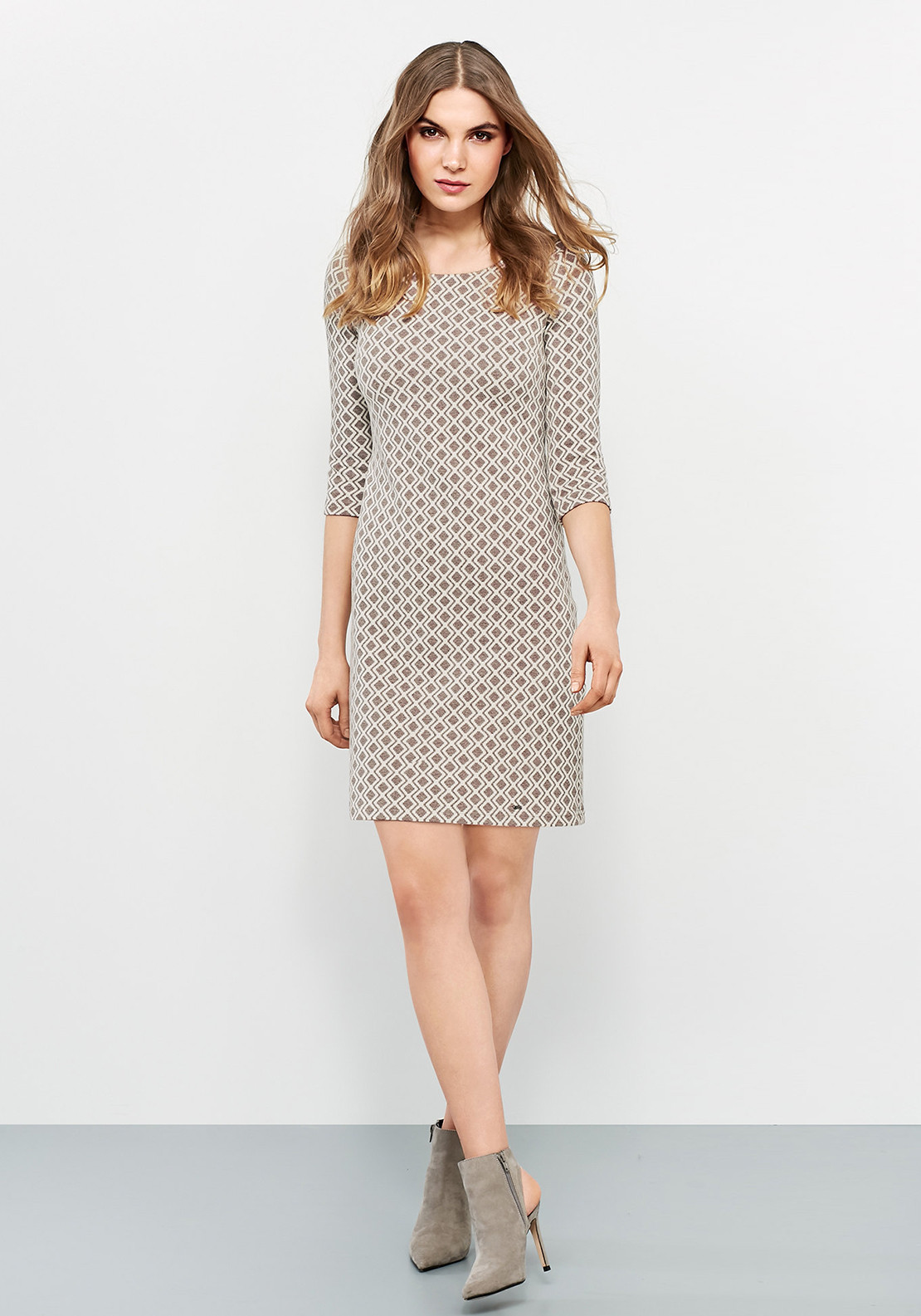 Taifun Jacquard Print Knit Dress, Taupe