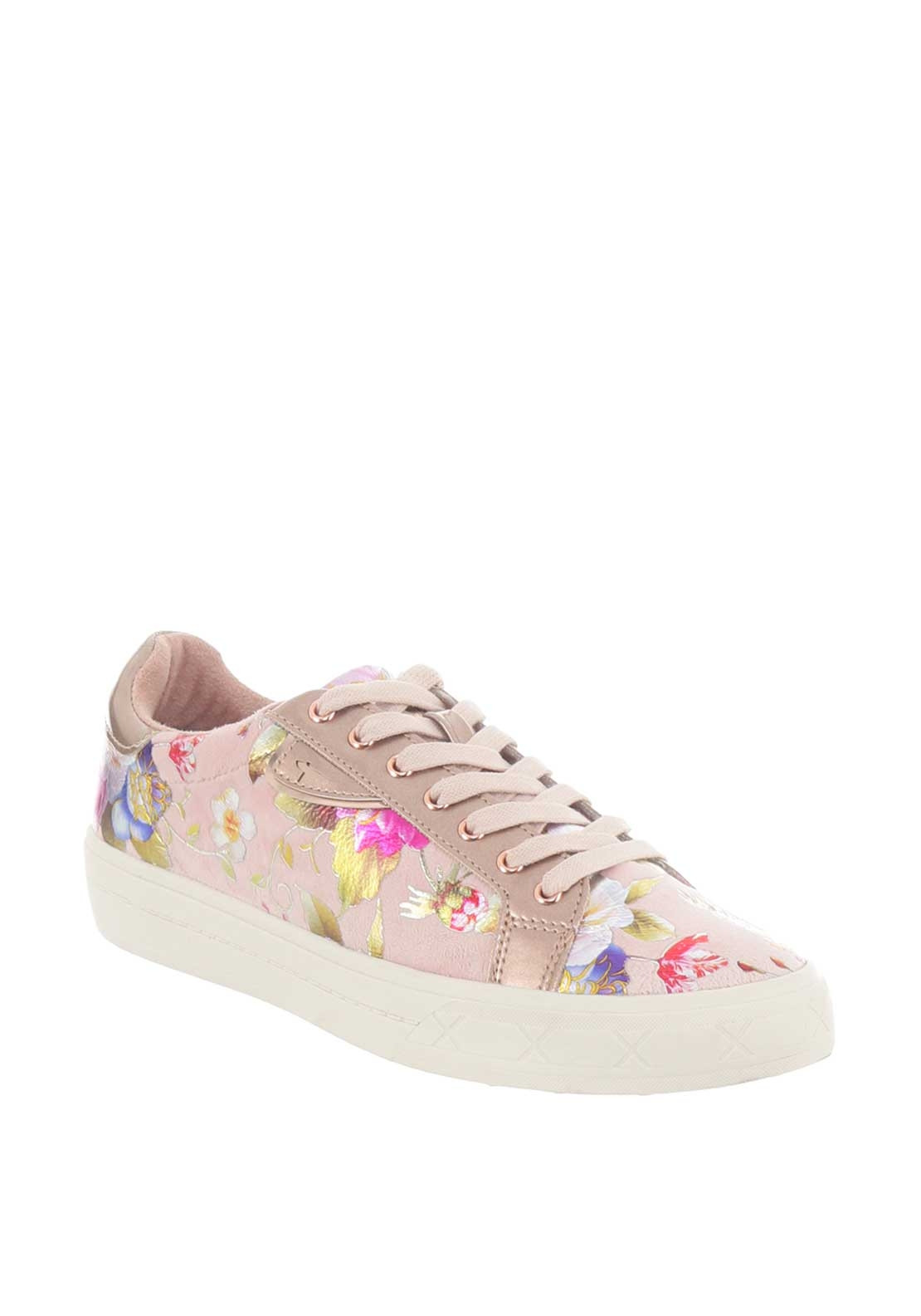 Tamaris Velour Floral Metallic Trainers, Pink