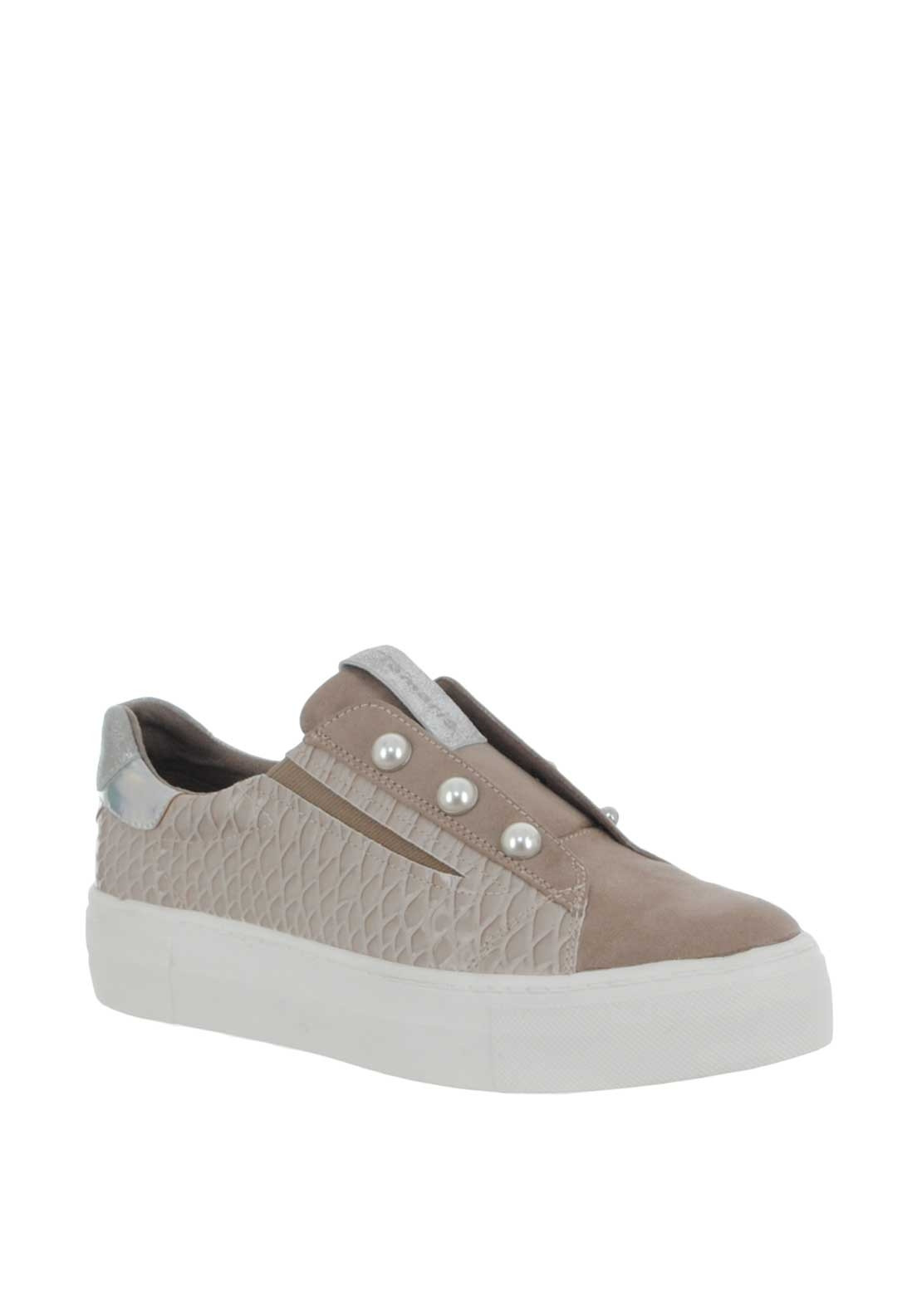 Tamaris Reptile Platform Slip on Trainers, Taupe