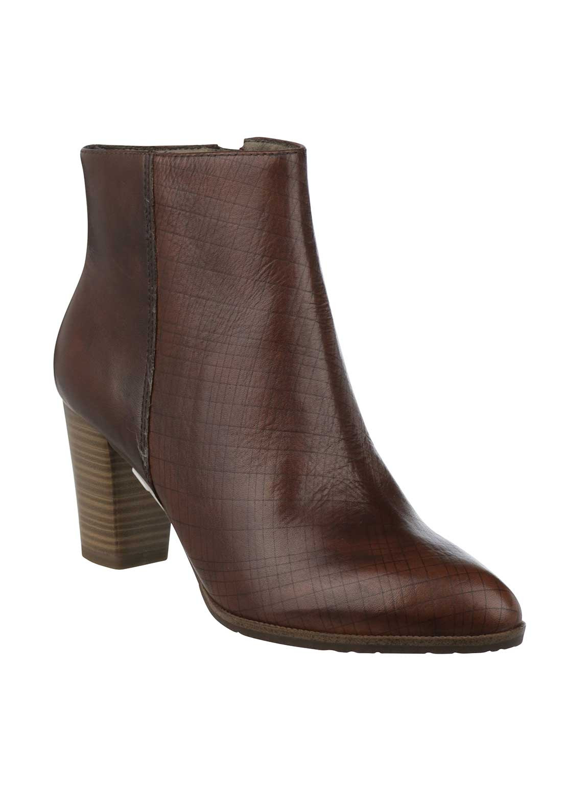 Tamaris Leather Textured Ankle Boots, Brown