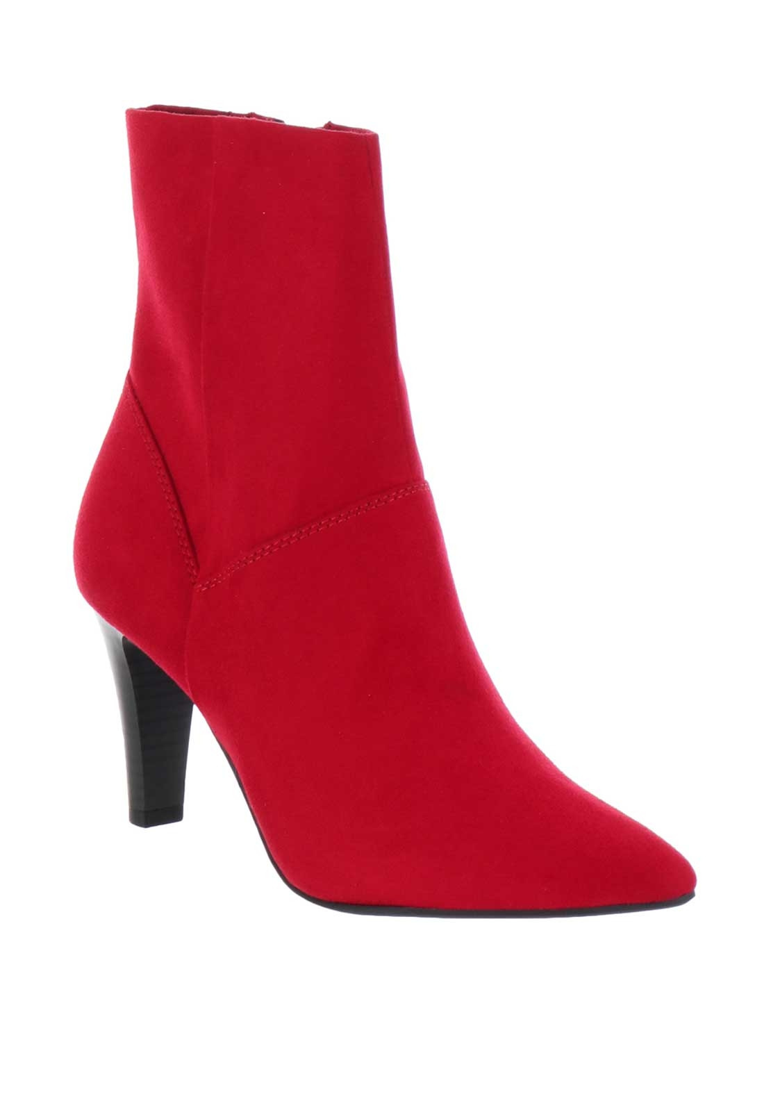 Tamaris Faux Suede Heeled Court Shoes, Red