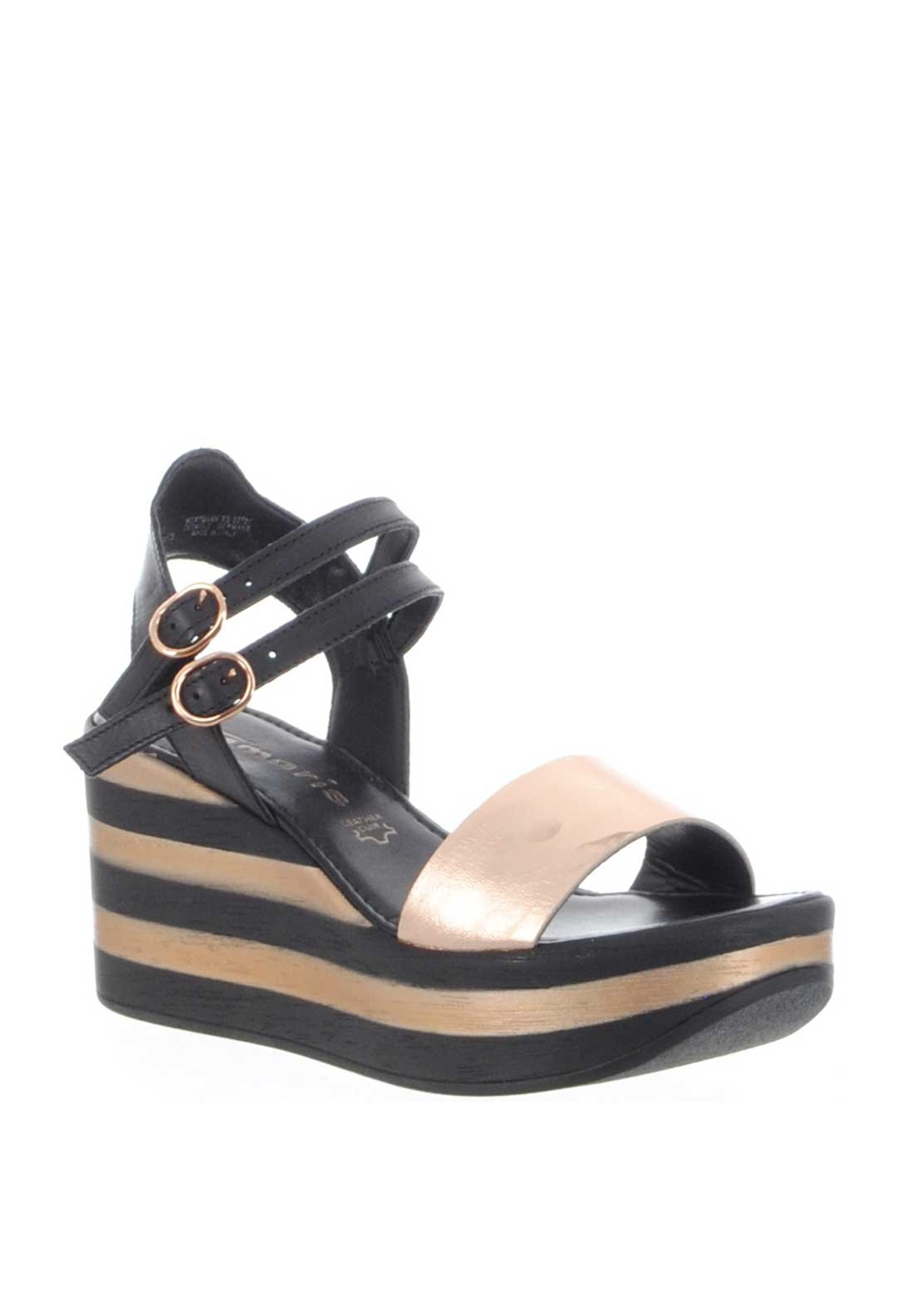 718440ca0 Tamaris Leather Striped Wedged Sandals