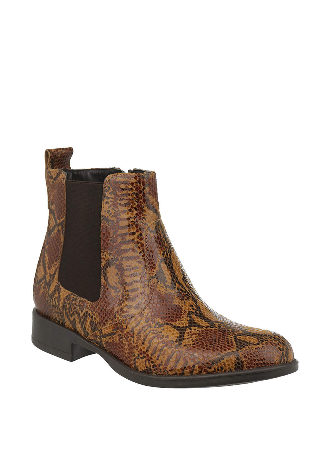 Tamaris Leather Reptile Print Chelsea Ankle Boots, Brown