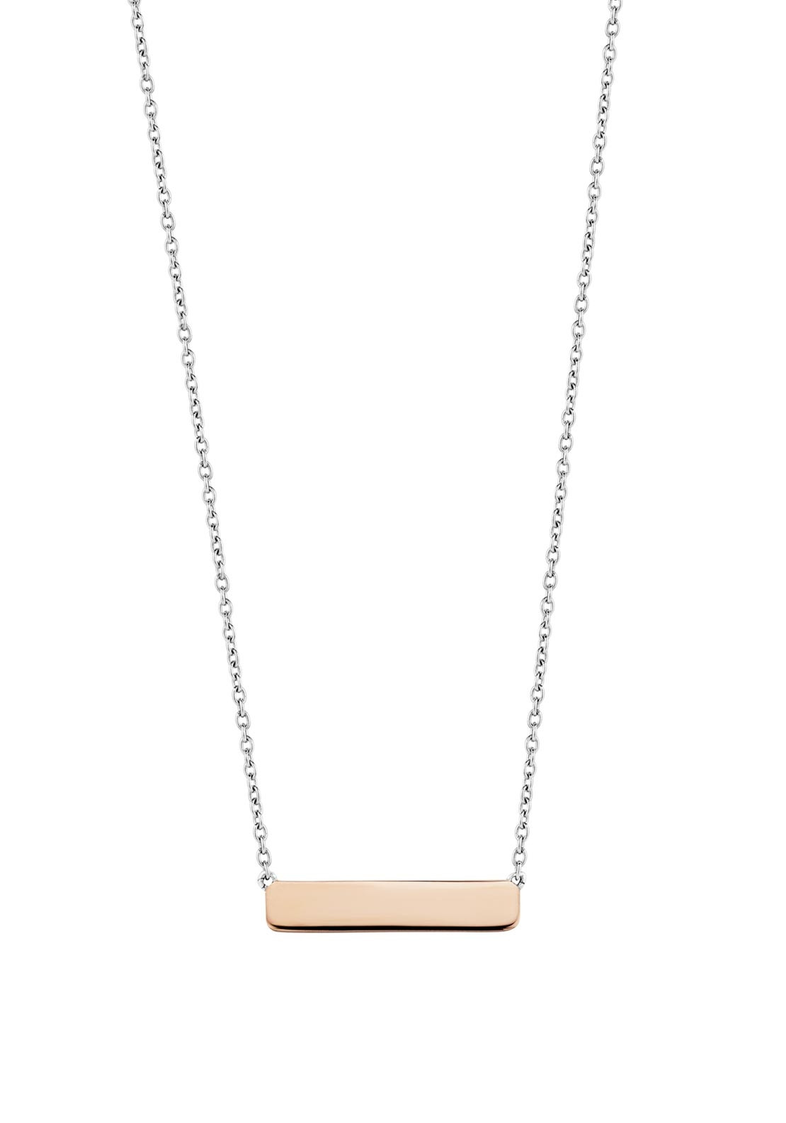04a21537654c4 Ti Sento Sterling Silver with Rose-Gold Rectangular Pendant Necklace