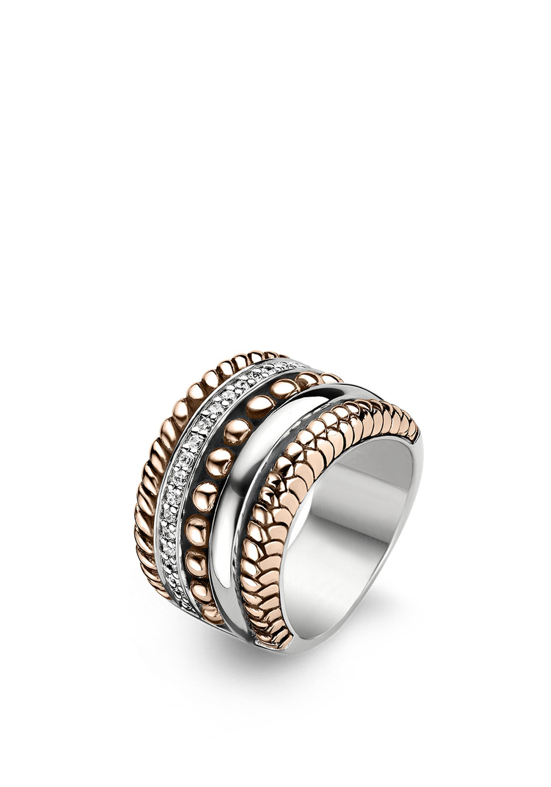 Ti Sento Stacked Ring Rose Gold and Silver Size Q