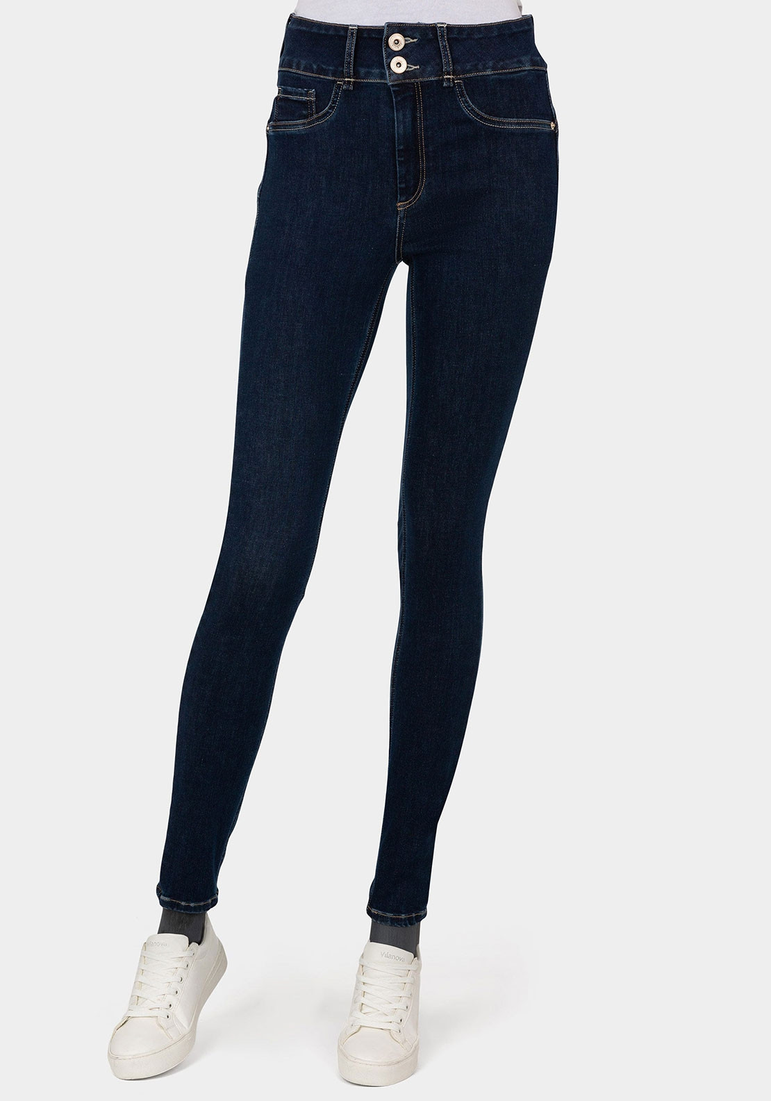 Tiffosi One Size Double Comfort Beauty Effect Jeans, Dark Blue