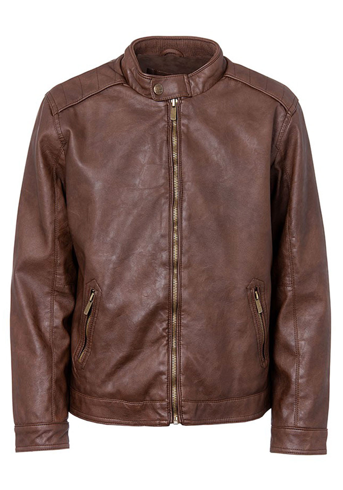 Tiffosi Boys Lawrence Faux Leather Jacket, Brown