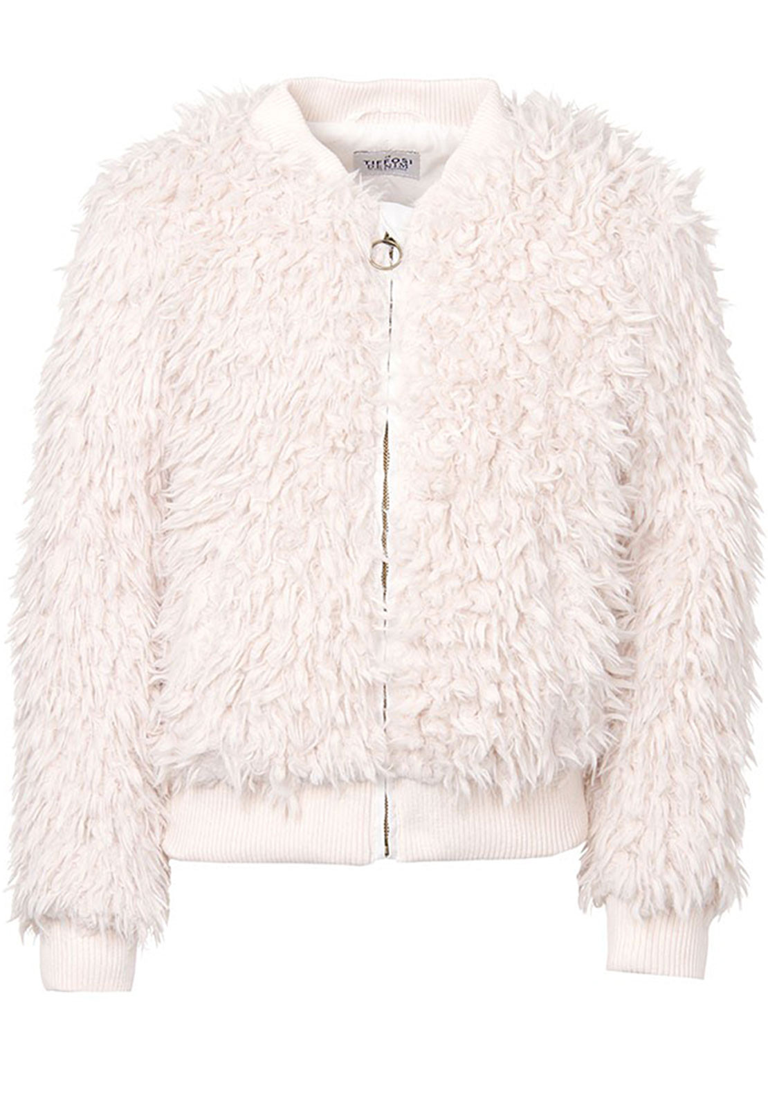 Tiffosi Girls Meagan Faux Fur Bomber Jacket, Cream