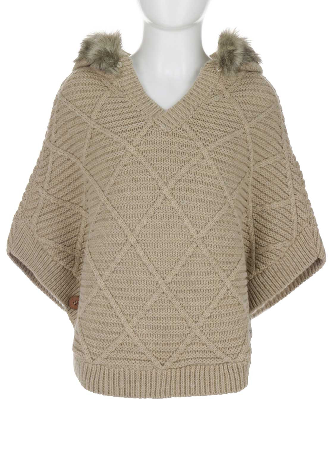 Tiffosi Girls Lucile Knitted Poncho, Beige