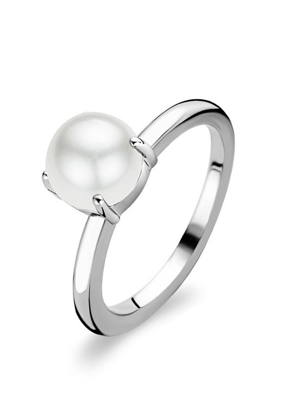 Ti Sento Milano Sterling Silver Ring with Pearl, Size L