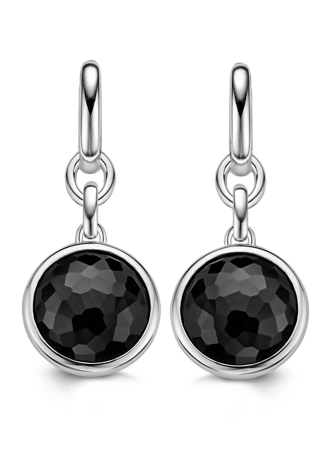 Ti Sento Milano Round Black Stone Silver Drop Earrings
