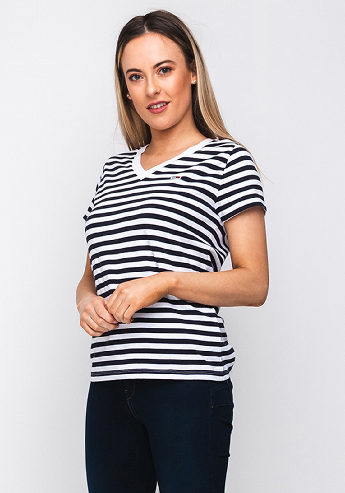 73dd00f13 Tommy Jeans Womens Striped V Neck T-Shirt, Navy. Be the first to review  this product