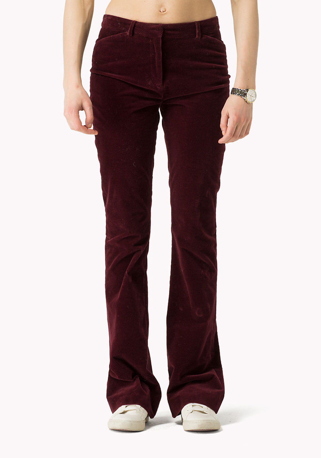 Tommy Hilfiger Womens Flared Cords, Wine