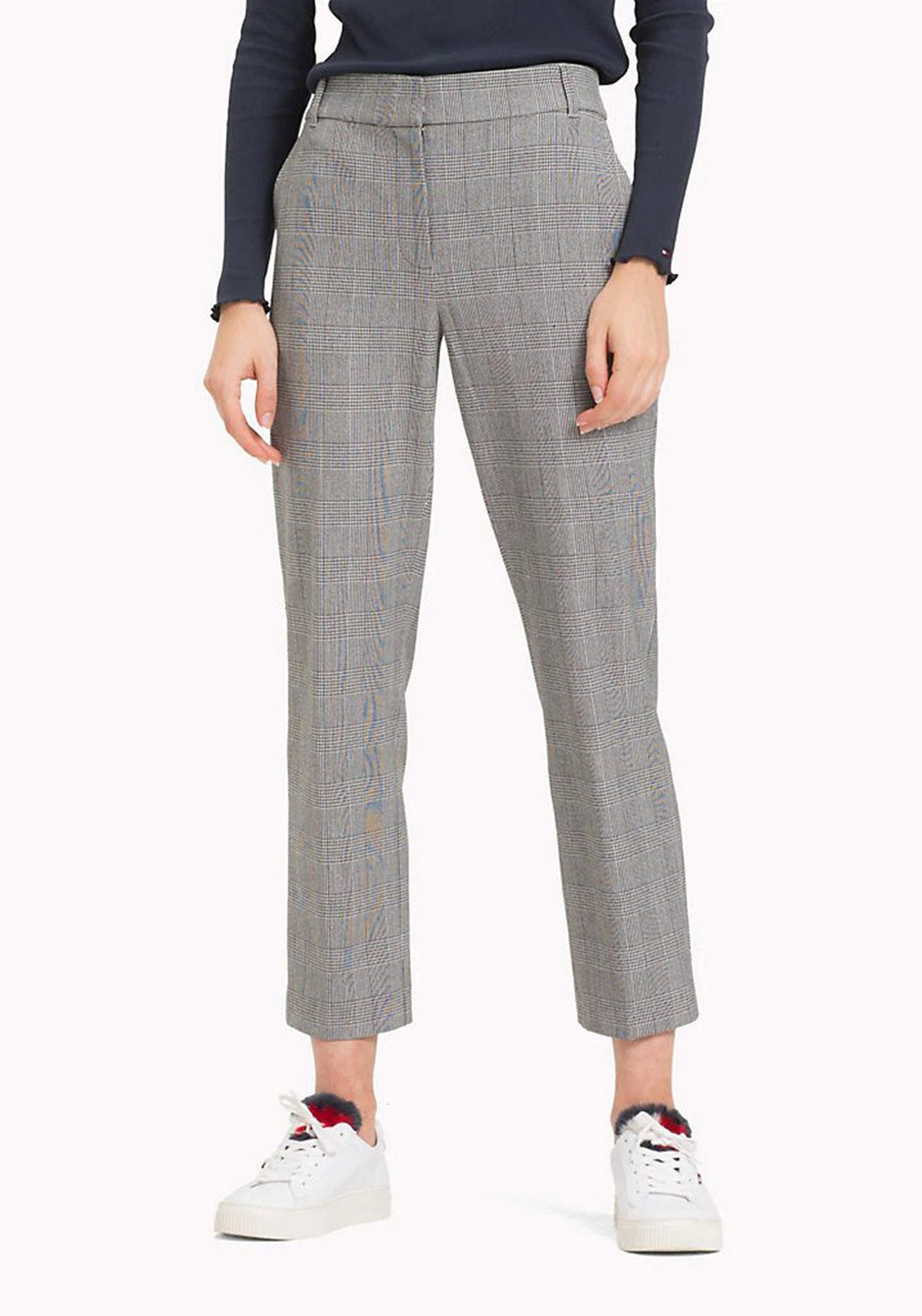 7179f2ce Tommy Hilfiger Jamie Check Straight Trousers, Grey | McElhinneys