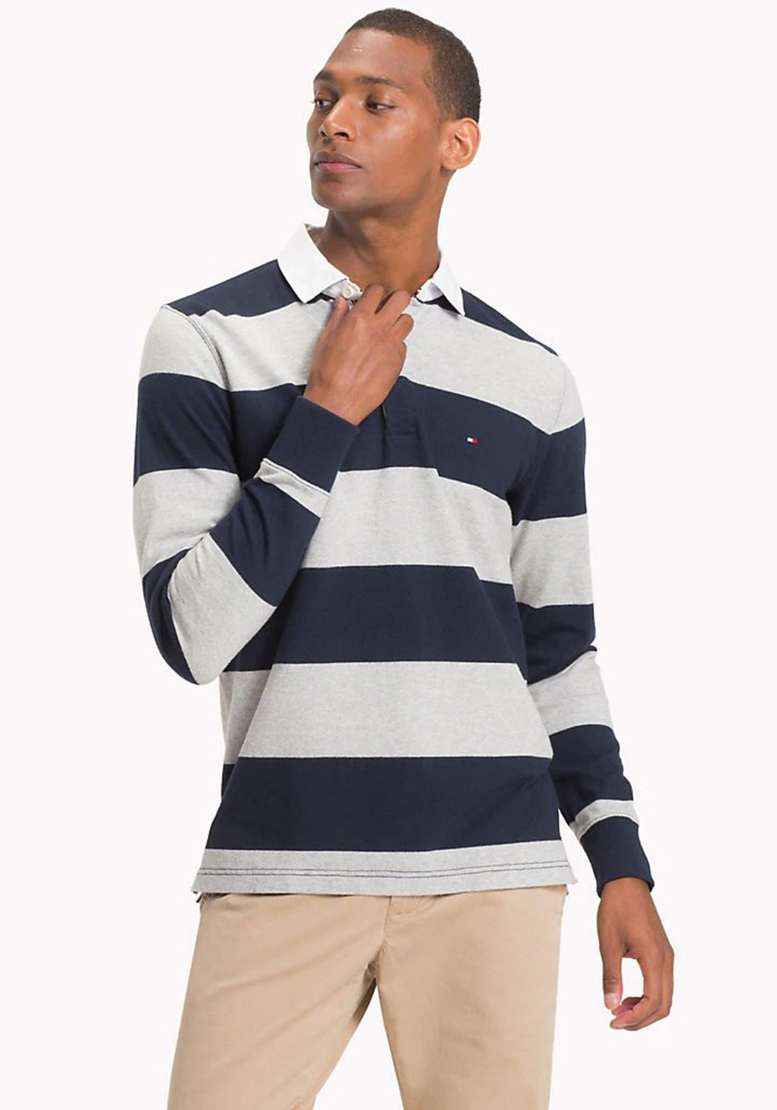 Tommy Hilfiger 90's Logo Rugby Long Sleeve Top in Navy