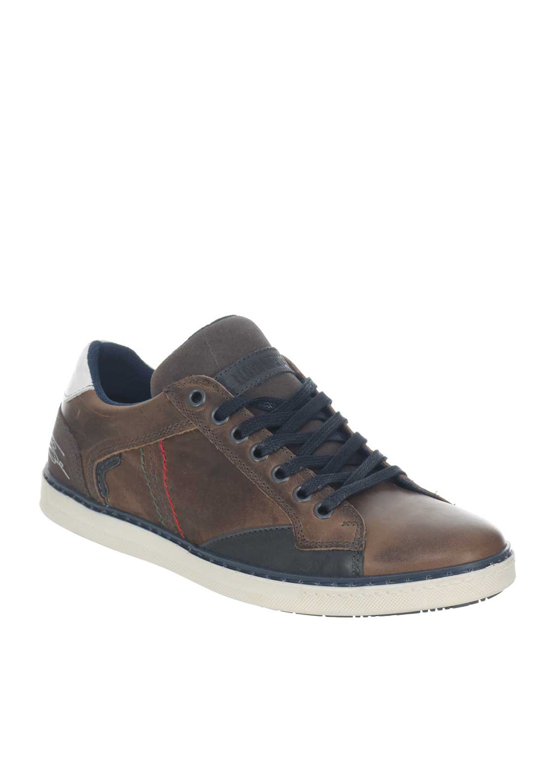 Tommy Bowe Aki Leather Trainer, Slate Brown