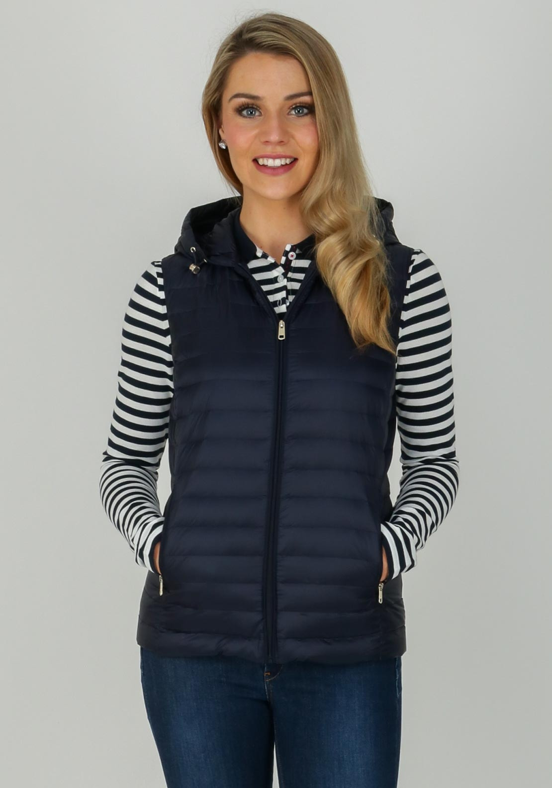 997aee4c Tommy Hilfiger Womens Hooded Gilet, Navy | McElhinneys