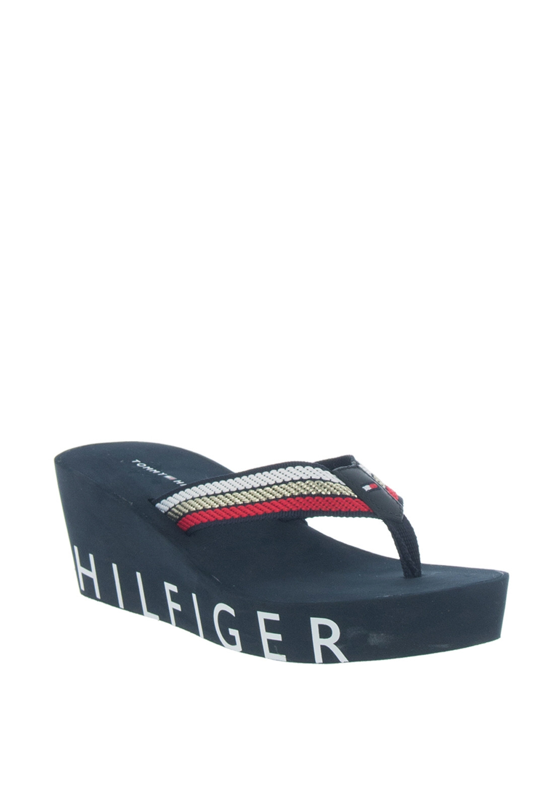 2061bfee3 Tommy Hilfiger Womens Signature Wedge Flip Flops
