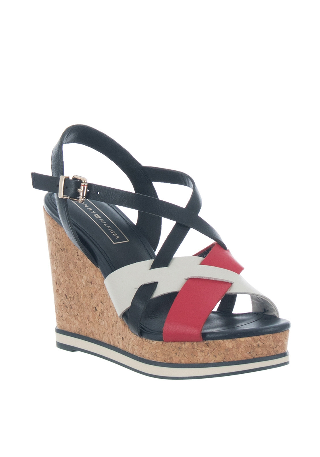 12bfbf458e2 Tommy Hilfiger Womens Contrast Strap Wedge Sandals, Navy & Red. 20% OFF