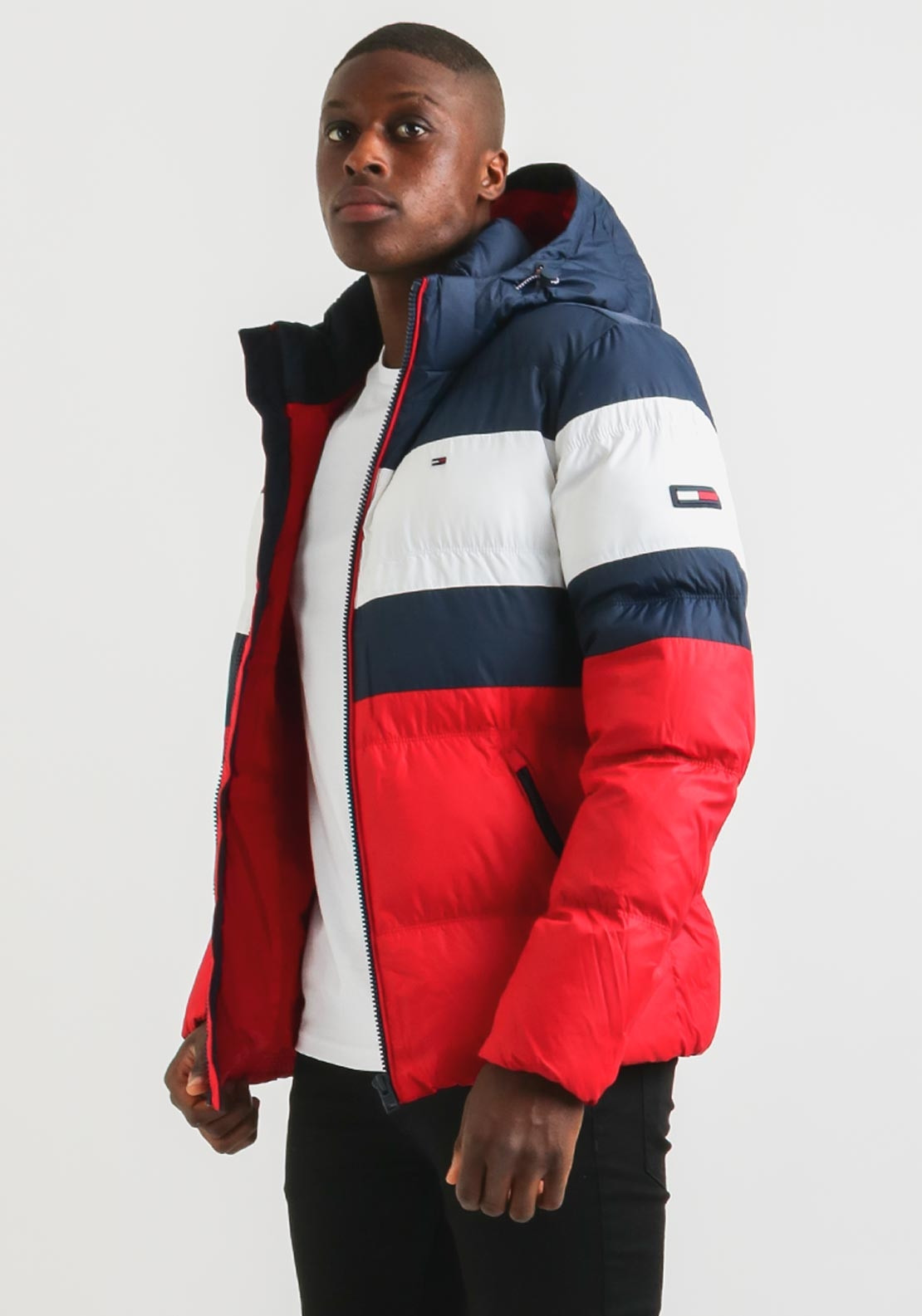 312d419f9 Tommy Jeans Mens Rugby Stipe Puffer Jacket, Red