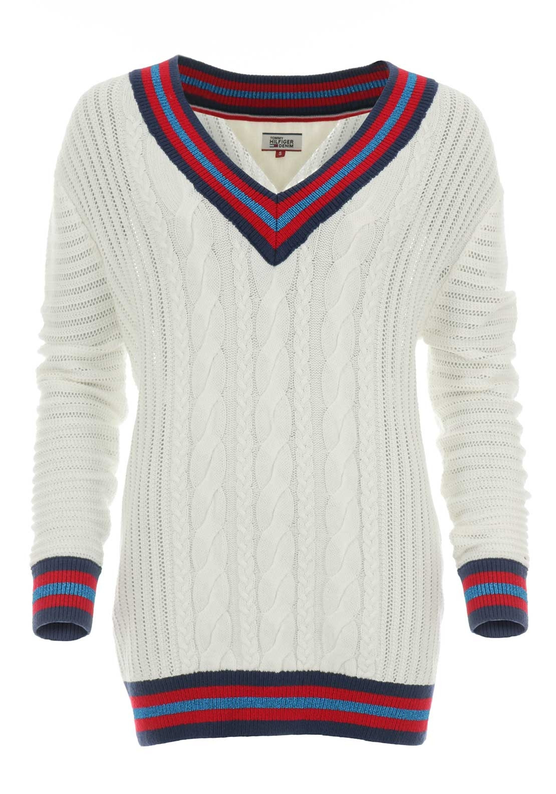 Tommy Hilfiger Womens Oversized Cable Knit Jumper Cream Mcelhinneys