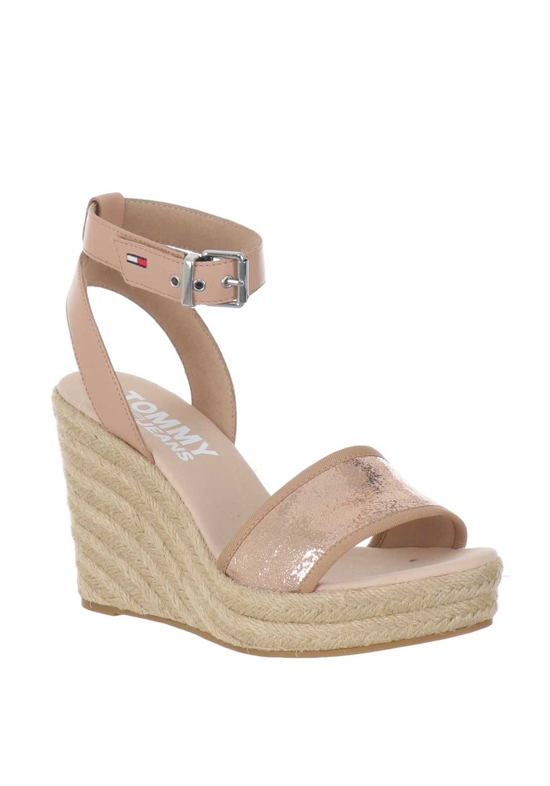 b4f3fbb6 Tommy Jeans Womens Metallic Wedged Sandals, Rose Gold   McElhinneys