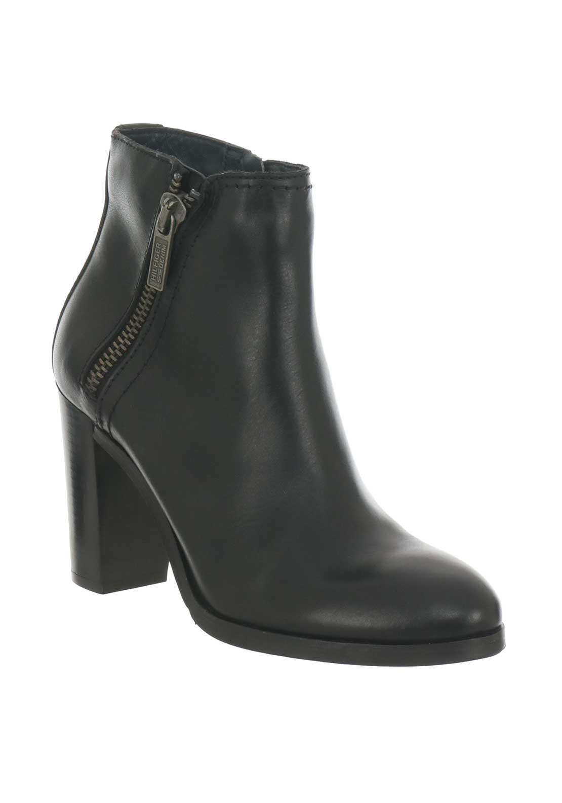 39eb253f376c Tommy Hilfiger Womens Leather Zip Heeled Boots