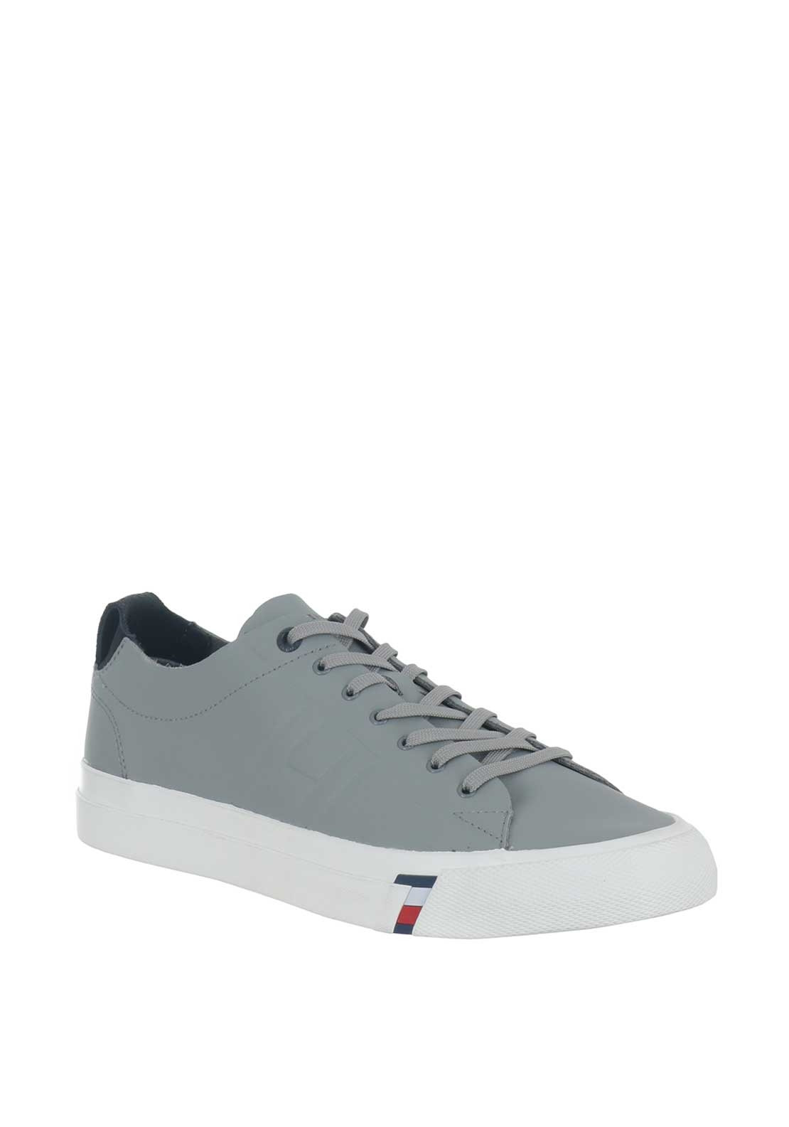 Tommy Hilfiger Men's Leather Trainers, Grey