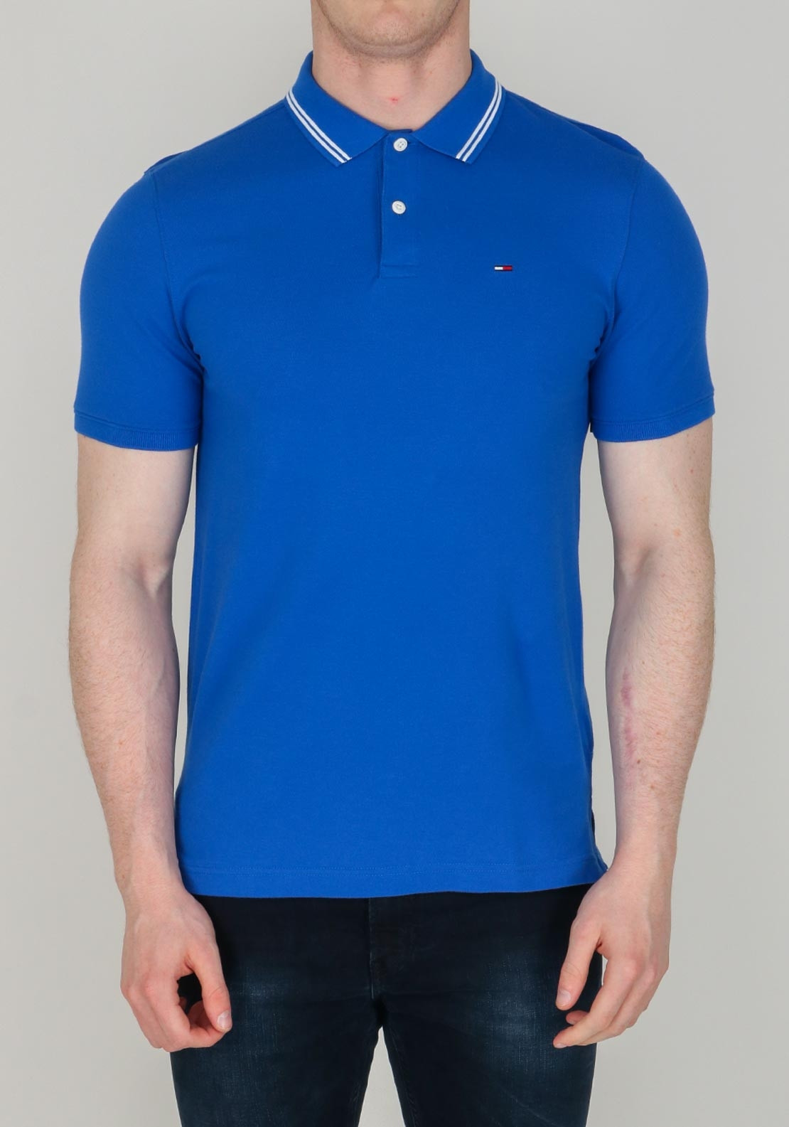 b96f588d70c9 Tommy Jeans Men's Striped Collar Polo-Shirt, Blue | McElhinneys
