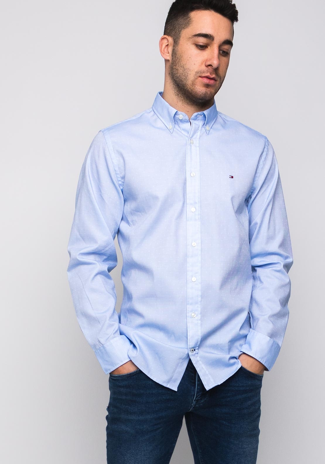 9801e64d Tommy Hilfiger Two Tone Dobby Shirt, Blue. Be the first to review this  product