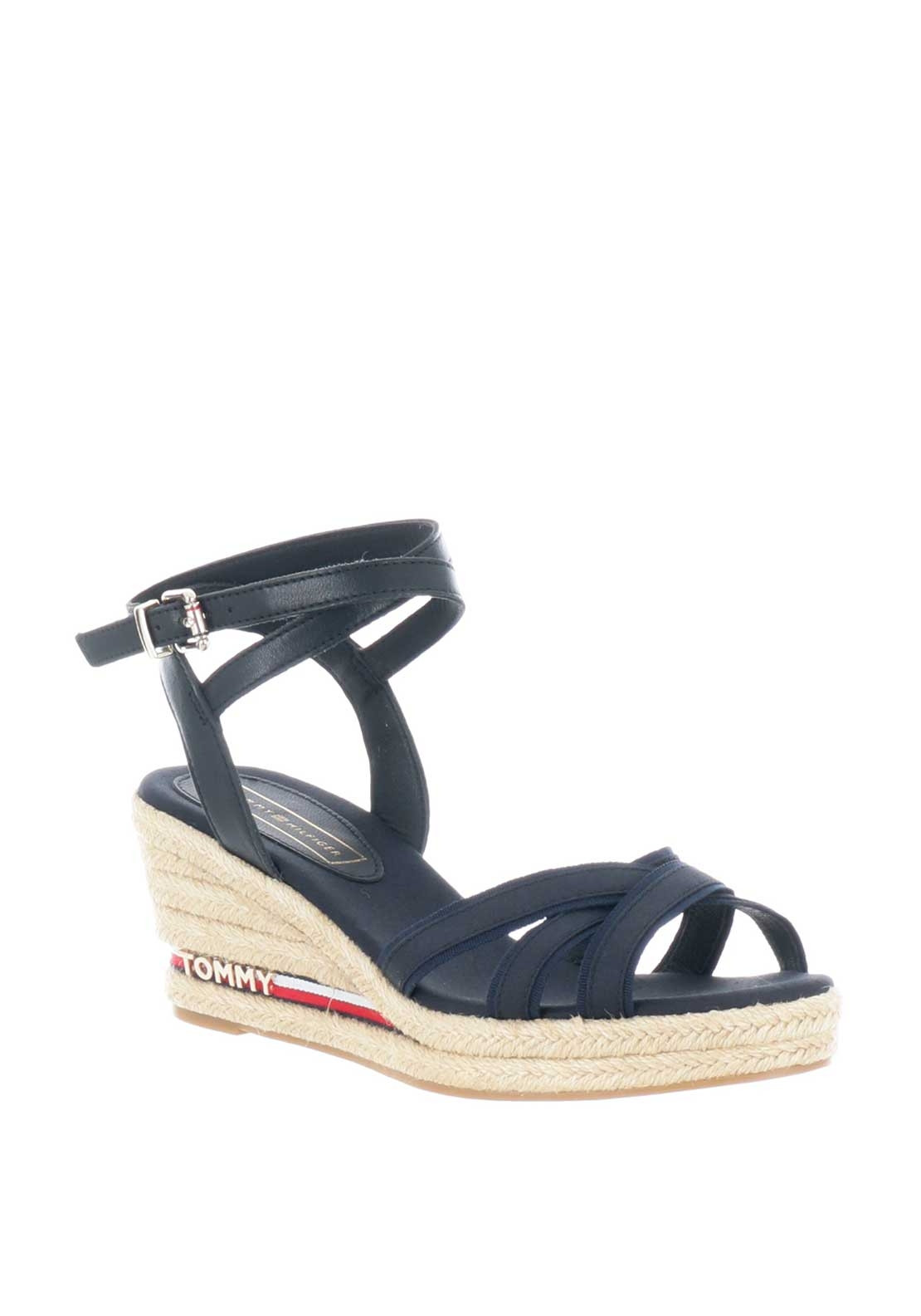 1ccab0a884 Tommy Hilfiger Womens Iconic Elba Wedge Sandals, Navy | McElhinneys