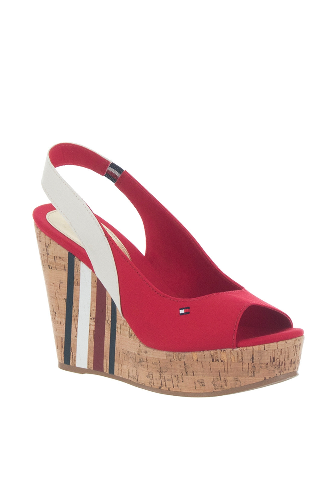 57516f1022 Tommy Hilfiger Womens Signature Slingback Wedge Sandals, Red. 20% OFF