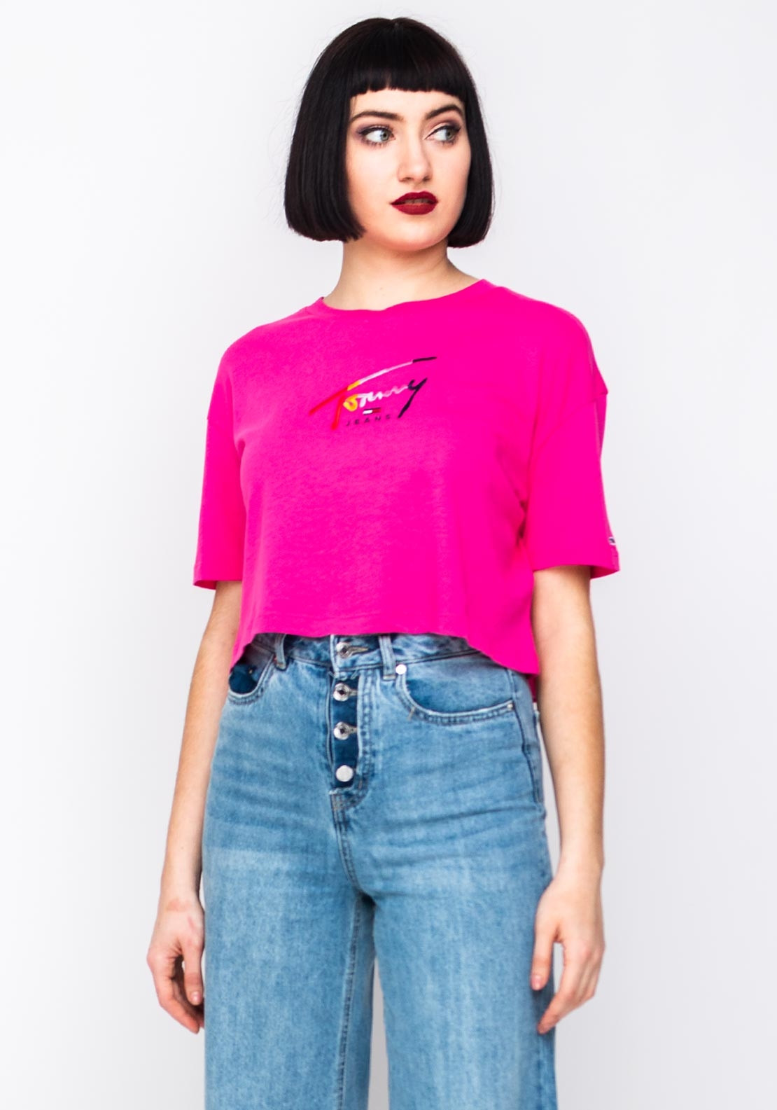 82fa0554 Tommy Jeans Womens Script Crop T-Shirt, Pink. Be the first to review this  product
