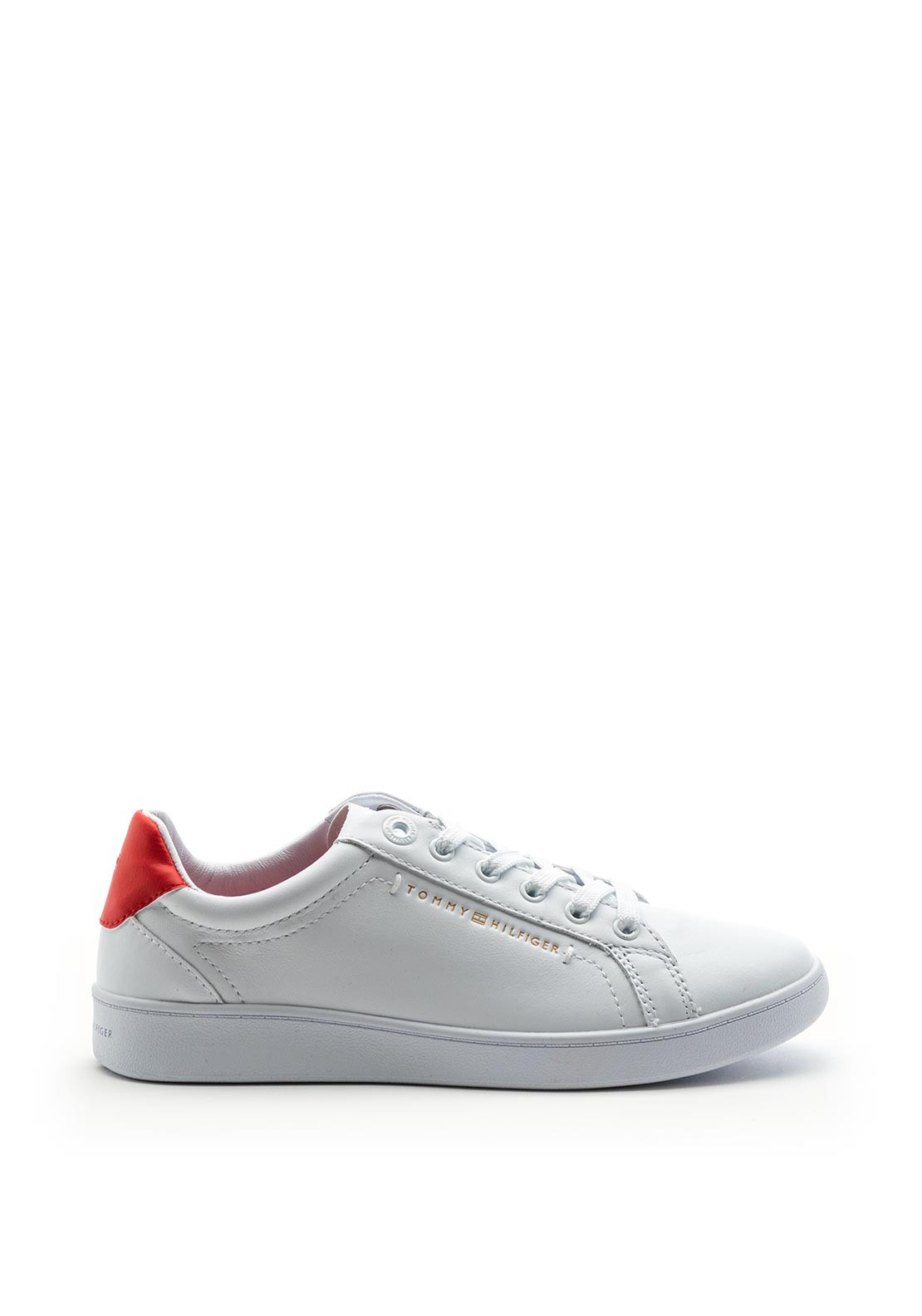 Tommy Hilfiger Womens Tennis Hybrid Leather Trainers, White