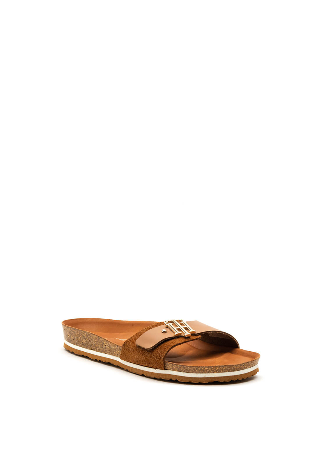 Tommy Hilfiger Womens Leather & Suede Monogram Sandals, Tan